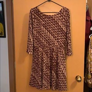 Southwestern printed dress with 3/4 sleeves